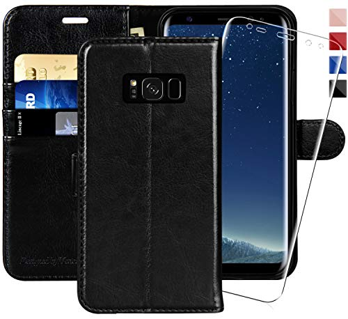 (Galaxy S8 Wallet Case, 5.8-inch,MONASAY [Included Screen Protector] Flip Folio Leather Cell Phone Cover with Credit Card Holder for Samsung Galaxy S8)