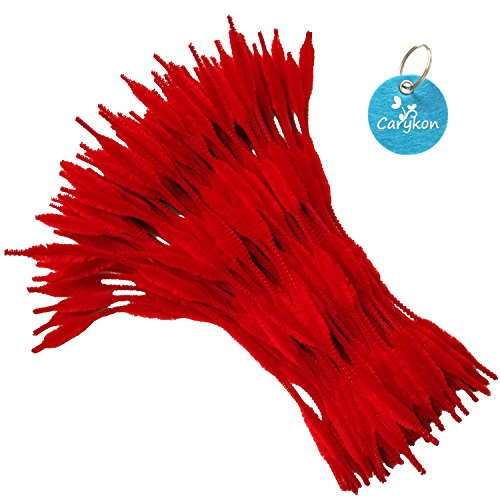 Bumpy Chenille Stems - Carykon Pack of 100 Pipe Cleaners Fuzzy Bumpy Chenille Stems for Creative Handmade DIY Art Craft (Red)
