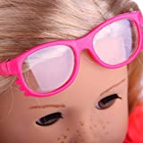 Wokee New Fashion High-Quality Stylish Plastic Frame Sunglasses For 18 inch Our Generation American Girl Doll Girls Pretend Play Toy Gifts (A)