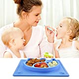SILIVO Baby Suction Placemat Non-Slip Silicone Baby Plates with Suction Cups Fits Most Highchair Trays