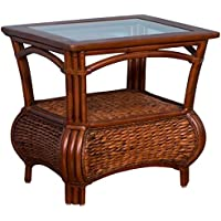 Alexander & Sheridan HAV021-SI Havana End Table in Sienna Finish with glass