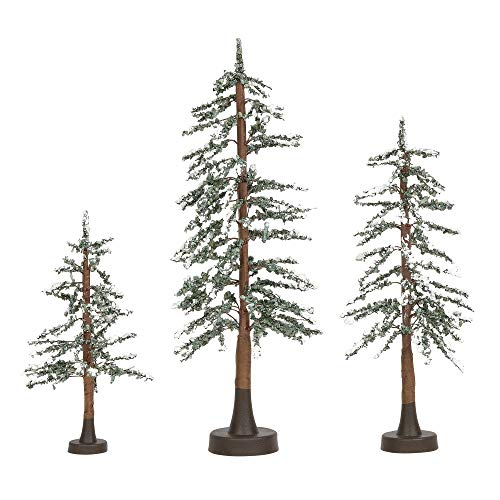 (Department 56 Village Collections Accessories Snowy Lodge Pine Tree Figurines, Various Heights, Multicolor)