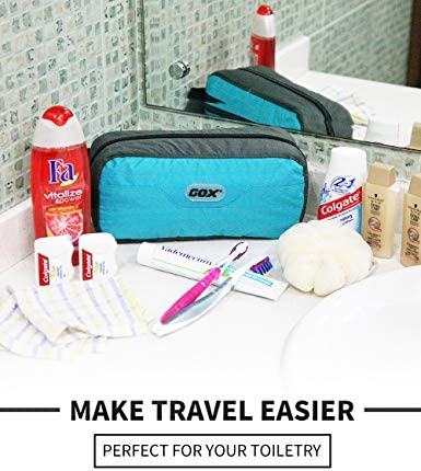 GOX Travel Toiletry Bag,Dopp Kit Case,Ultra-Light Cosmetics Bag Makeup Organizer (Turquoise)