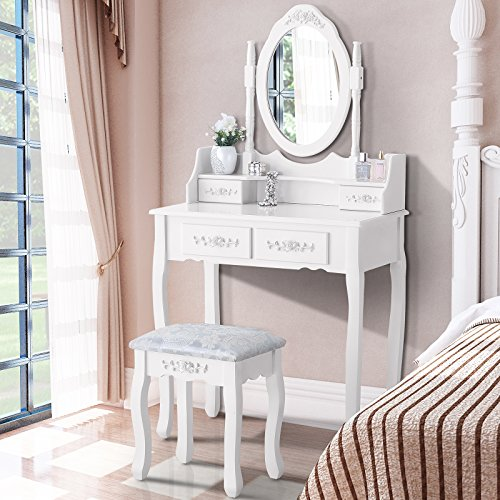 Mecor Vanity Table Set with Oval Mirror/4 Drawers,Wood Makeup Dressing Table Bedroom and Cushioned Stool,White (Girl Collection White Furniture)