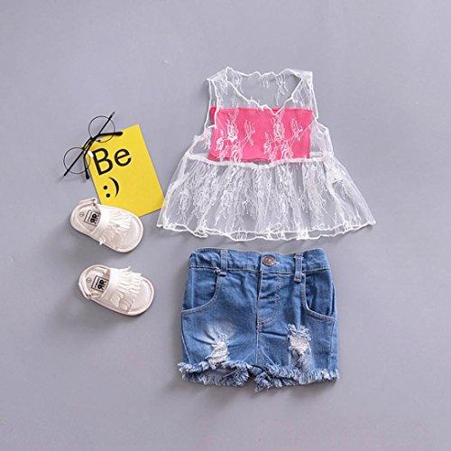 Omiky® Kleinkind-Baby-feste Spitze-T-Shirt Sommer-Sleeveless Oberseiten-Ausstattungen Weiß