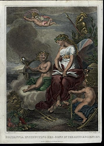 Britannia Cherubs Youth Learning Arts Sciences 1814 antique color Frontis -