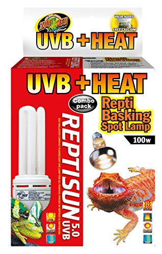 Zoo Med Heat and UVB Basking Spot Lamp and Reptile Sun Fluorescent Combo Pack by Zoo Med