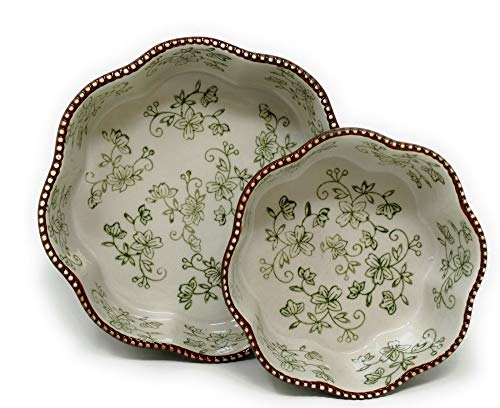 """Floral Lace Green 2 Nested Cake Plate Baker T48663 8"""" & 6"""" Tkoutlet from Unknown"""