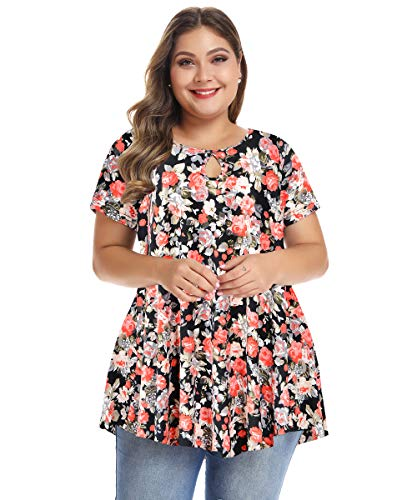 MONNURO Womens Short Sleeve Flare Swing Tunic Tops Plus Size Casual Loose Fit Shirts Blouses Floral01 L