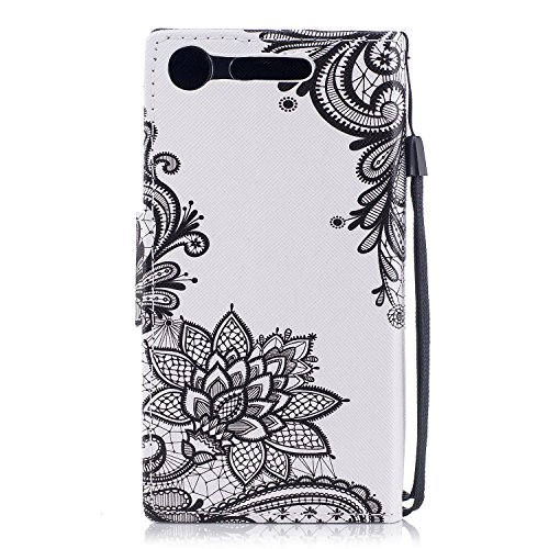EUWLY Leather Wallet Case for Sony Xperia XZ1,Ultra Thin Colorful Butterfly Flower Tree Animal Embossed Pu Leather Case Cover with Hand Strap for Sony Xperia XZ1 + 1 x Stylus Pen - Dreamcatcher Black Flower