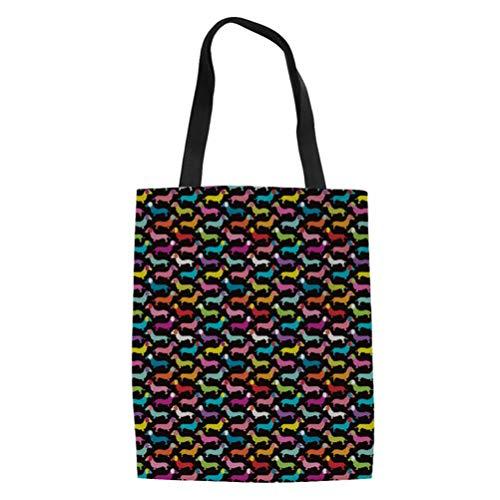 SANNOVO Dachshund Dog Canvas Tote Bag Grocery Shopping Bag Shoulder Bag for Girls Students by SANNOVO (Image #6)
