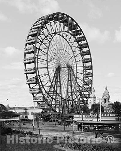 (St. Louis Historic Black & White Photo, World's Fair Ferris Wheel, c1904 | 44in x 55in)