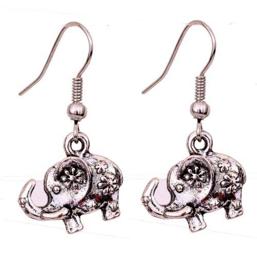 rve Flower Elephant Ear Wire Hook Dangle Earrings (Elephant Ears Flower)
