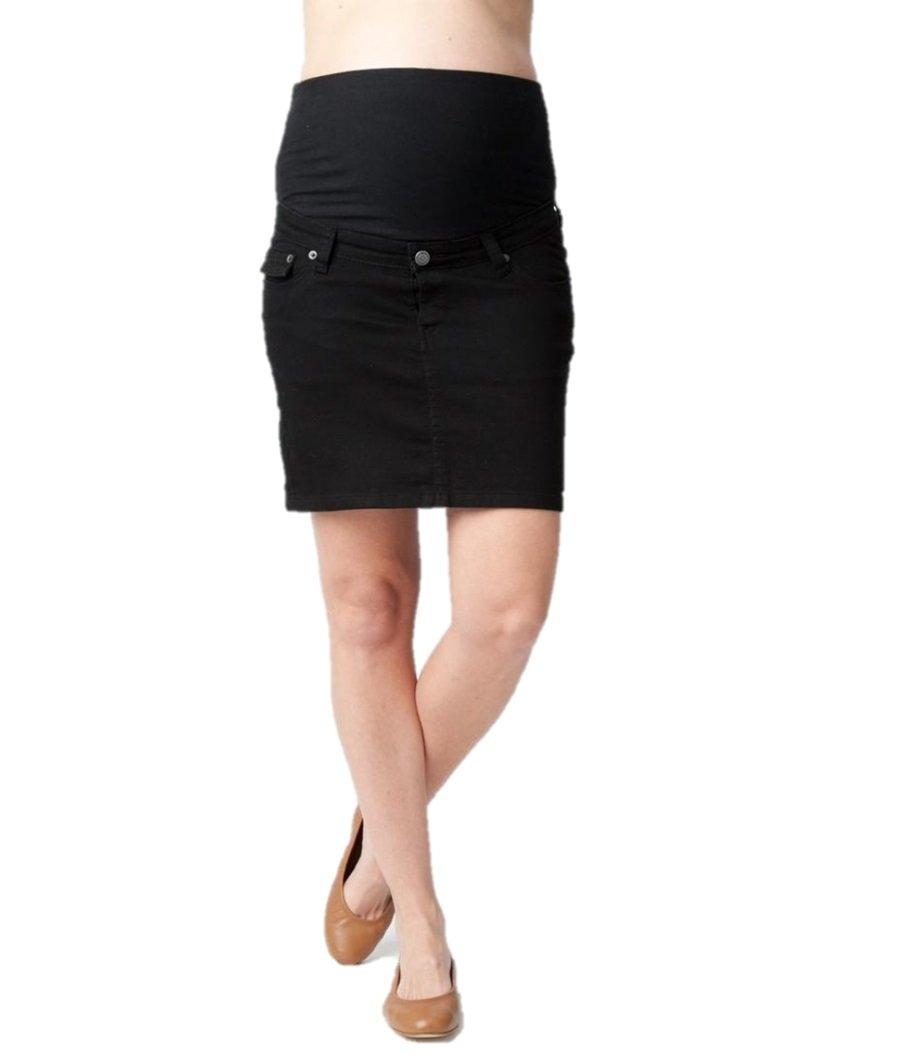 Ripe Maternity Women's Maternity Lite Denim Short Skirt, Black X-Large by Ripe