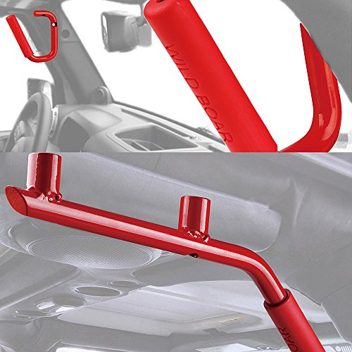 Xprite Front & Rear Red Hard Mount Solid Steel Grab Handle Bar 2007 - 2017 Jeep Wrangler JK (One Pair) (Black Handles Red)
