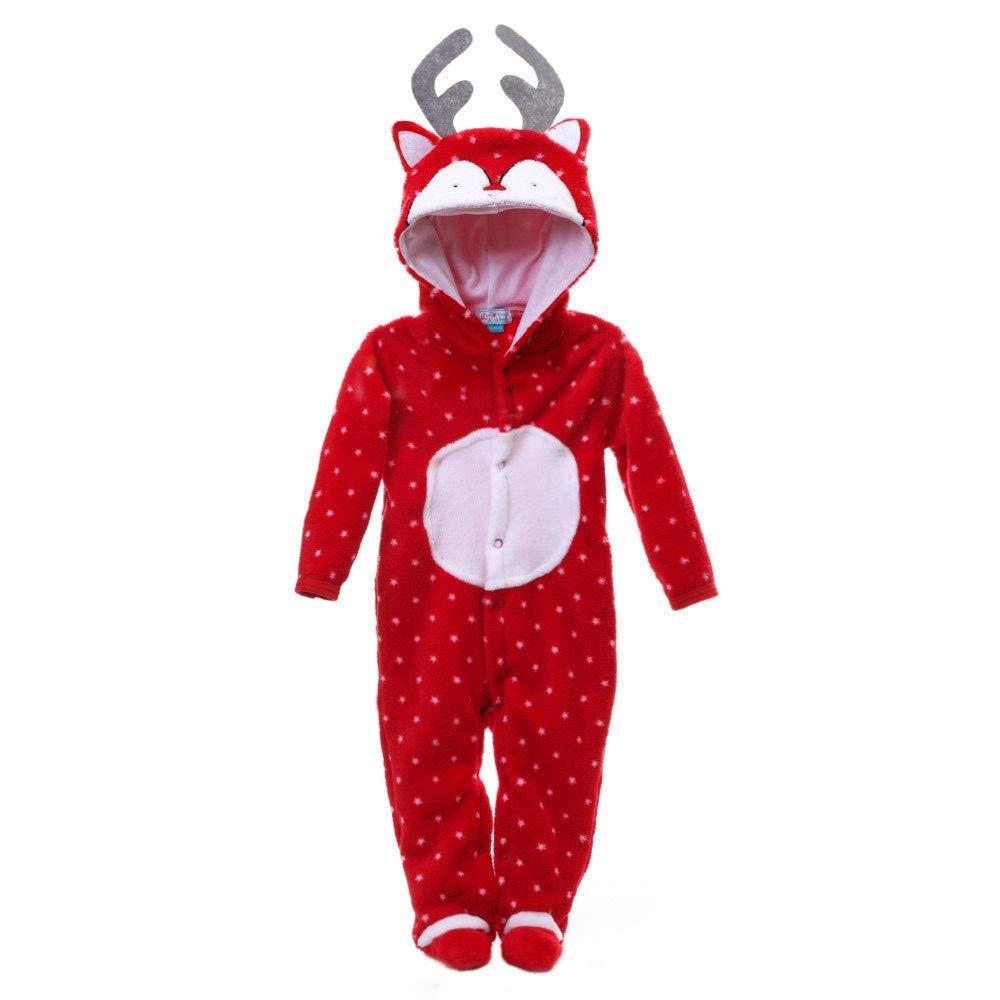 BURFLY Newborn Baby Girl Boy Christmas Costume Elk Antler Hoodie Romper Jumpsuit Sleepwear, Xmas Coral Fleece Romper Clothes Outfits Set, 3 Months-3 Years