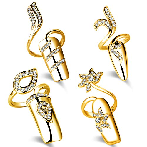 Qindishijia Fingernails Ring,Nail Art Charms Womens Retro Fashion Protecting Fingernail Nail Decoration Tip Nail Finger Ring Cute Nail(4 Pieces Combination) (Gold)