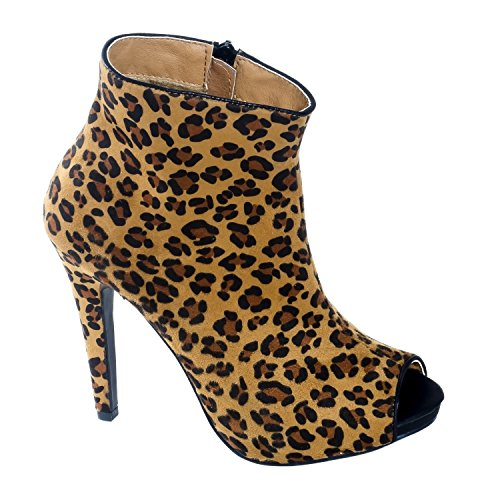 Herstyle Kvinners Marcoo Menneskeskapt Zip-up Stiletto Bootie Leopard