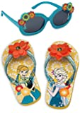 Disney Store Anna and Elsa Flip Flop Sandals and Sunglasses Set
