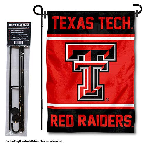 Rubber Tech Red Texas Raiders - College Flags and Banners Co. Texas Tech Red Raiders Garden Flag with Stand Holder