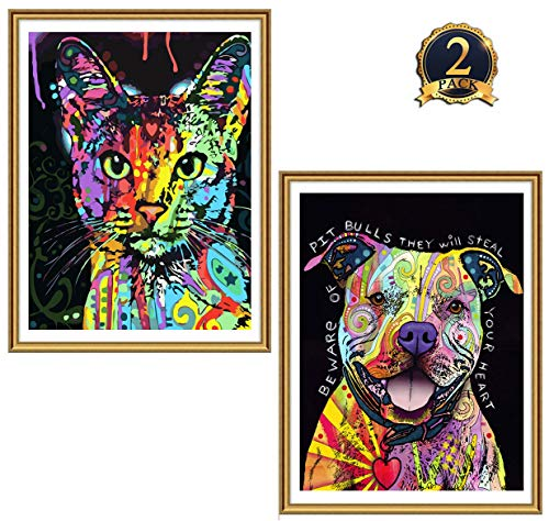 2 Pack 5D Diamond Painting Colorful Dogs& Cats Full Drill by Number Kits for Adults Kids, Ginfonr Craft Rhinestone Paint with Diamonds Set Pet Arts Decorations (12x16inch)