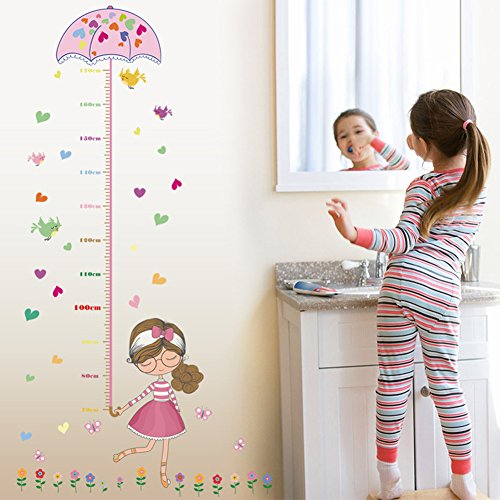 Wallpark Colorful Flowers Birds Girl Holding Umbrella Height Sticker, Growth Height Chart Measuring Removable Wall Decal, Children Kids Baby Home Room Nursery DIY Decorative Adhesive Art Wall (Wallpaper Growth Chart)