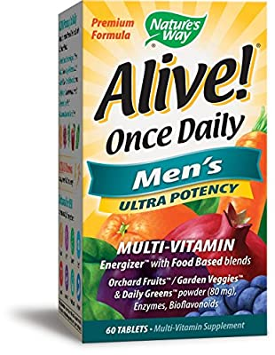 Nature's Way Alive! Once Daily Men's Multivitamin, Ultra Potency, Food-Based Blends (291mg per serving), 60 Tablets