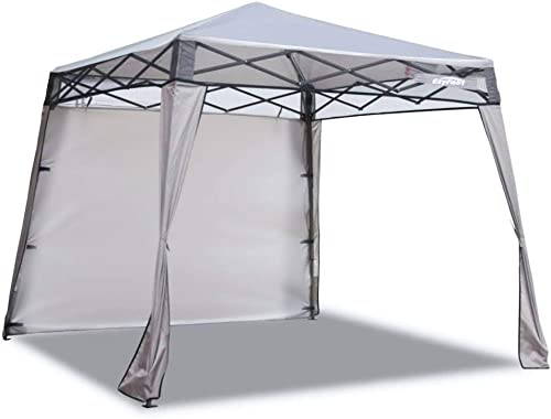 EzyFast Elegant Pop Up Beach Shelter, Compact Instant Canopy Tent, Patented Portable Sports Cabana, 7.5 x 7.5 ft Base 6 x 6 ft top for Hiking, Camping, Fishing, Picnic, Family Outings Khaki
