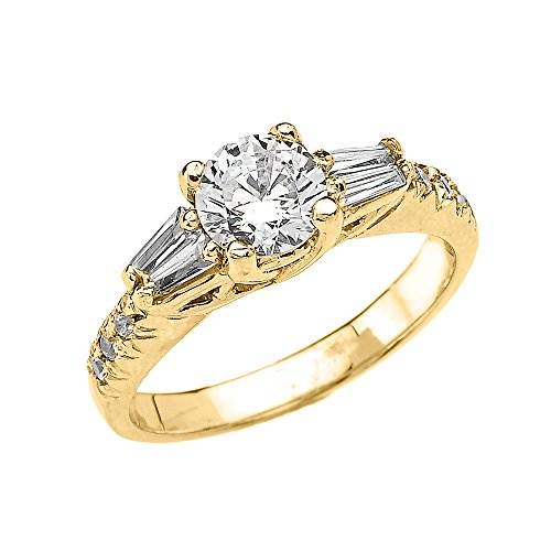 Elegant 10k Yellow Gold 2 Carat Total Weight French Cut Pave CZ Engagement Ring (Size 11.25) by CZ Engagement Rings