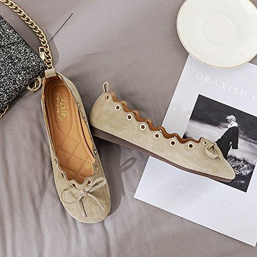 Plana Dulce Caqui con Las luz Solo Zapatos Femeninos de Plano Mujeres Zapatos Abuela de Cabeza Calzado con Qiqi Solaz Redonda Zapatos Xue Bajos S7A0q0