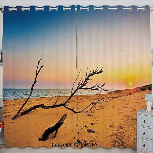 - Justin Harve window Washed Up Driftwood on The Sandy Shore at Sunrise Digital Image Custom Blackout Curtains Set of 2 Panels(100