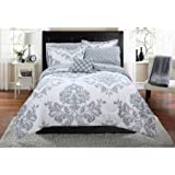 Mainstays Classic Noir Bed In A Bag Bedding Set - Machine Washable for Easy Care (Queen, Gray)
