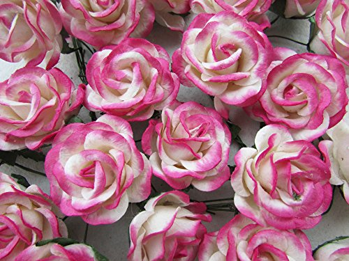 (25 pcs Rose White Pink color Mulberry Paper Flower 35 mm scrapbooking wedding doll house supplies card)