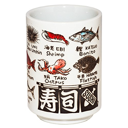 Japanese tea cup sushi yunomi ceramic english and kanj for Sushi fish names