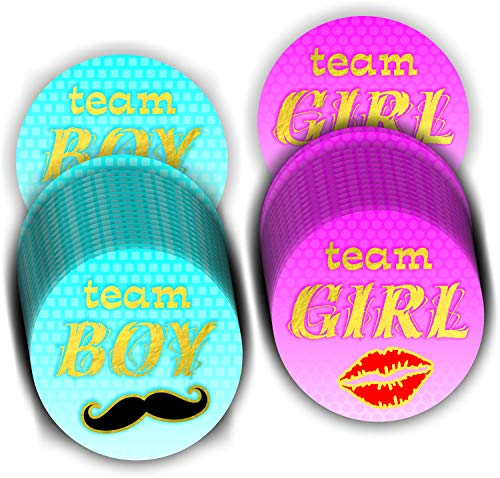 (Gender Reveal Stickers (Pack of 120) Team Boy and Team Girl Pink Blue Baby Shower Stickers - Gold Foil Stamping 2