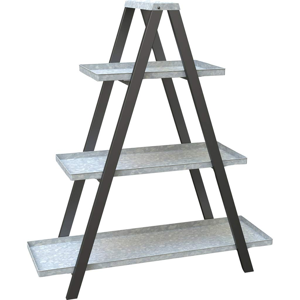 Vintage Ladder A-Frame Stand w/Galvanized Shelves - Outdoor Decor