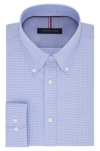 Tommy Hilfiger Men's Non Iron Slim Fit Gingham Buttondown Collar Dress Shirt, Clear Water, 16.5