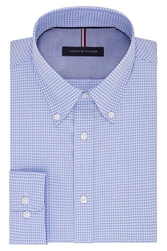 (Tommy Hilfiger Men's Non Iron Slim Fit Gingham Buttondown Collar Dress Shirt, Clear Water, 16