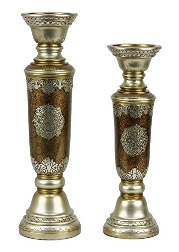 StealStreet SS-DD-AF02 Angelique Design 2 Piece Hurricane Candlestick Set