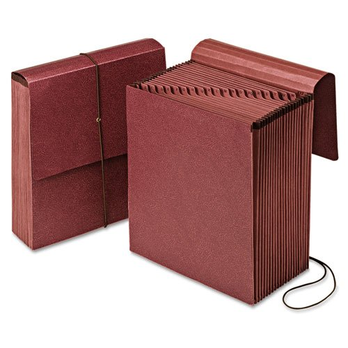 Reinforced Expanding Vertical Wallet - Vertical Indexed Expanding Wallet, A-Z, 21 Pockets, Red Fiber, Letter, Sold as 1 Each