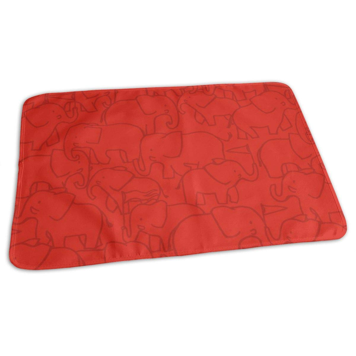 Red Hugo Elephant Baby Portable Reusable Changing Pad Mat 19.7x27.5 inch