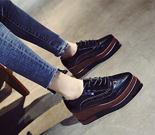 KHSKX-Black 7Cm Sponge Cake Thick Shoes Stylish Single Carved Slopes With High-Heeled Shoes Tide Female 37 JgIQT