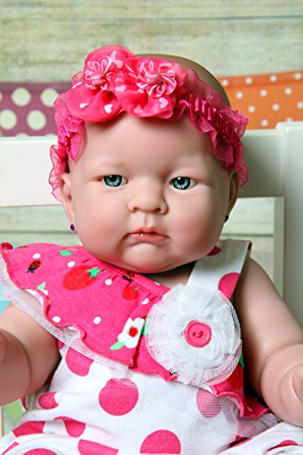 Berenguer Scented Doll (Girl vinyl anatomically correct with detailed baby wrinkles real cute girl doll Washable Berenguer Realistic 18