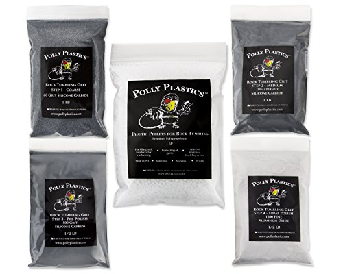 Polly Plastics Rock Tumbler Tumbling Media Grit Kit & Pla...