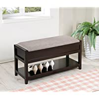 Gray Linen Fabric Entryway Shoe Bench Shelf Storage Organizer
