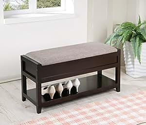 Amazon Com Gray Linen Fabric Entryway Shoe Bench Shelf