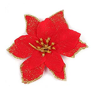 "Riverbyland 12 Pcs 5"" Poinsettia Flower Christmas Tree Ornament Dark Red 10"