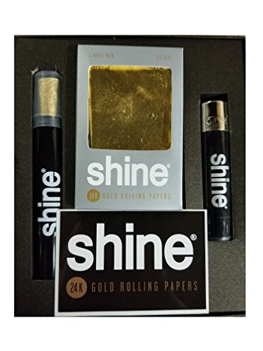 Shine 24K Gold Rolling Paper Gift Box & Bonus Greeting Card