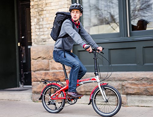 Schwinn-Adapt-3-9-Speed-Folding-Bike-Gloss-RedSilver-20-Wheel-one-size-frame