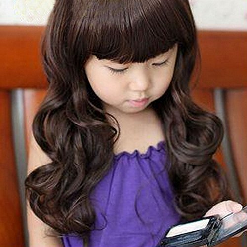 Spritech(TM) Children's Lovely Stylish Deep Brown Fluffy Realistic Long Wavy Curly Hair Wig Fiber Synthetic Wig for 5-10 Years Old Girl